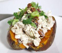 Gepofte zoete aardappel met kip en geitenkaas3