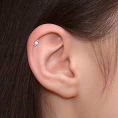 Opal Tragus Earring Titanium Implant Grade Rook Earring Forward Helix Clicker Clicker Hoop Conch Ring Tragus Piercing Cartilage Ring