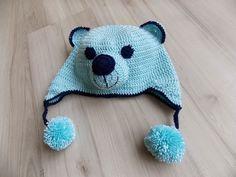 Gorro feito com FOFURA BABY KIDS! Café da Meia Tarde: Gorro em crochê: Ursinho Azul