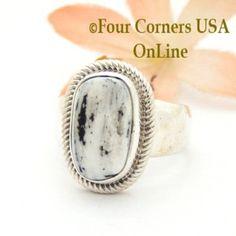 Size 7 3/4 White Buffalo Turquoise Ring by Navajo Artisan Joe Piaso Jr NAR-1829 Four Corners USA OnLine Native American Jewelry