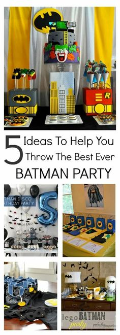 Planning a batman party? This collection of awesome Batman party ideas will provide a whole heap of inspiration to enable you to organize your next party. Including DIY crafts, party favors, themed party food and more, there is something for every budding Batman. Lego Batman Party, Batman Party Favors, Batman Party Supplies, Batman Batman, Batman Food, Batman Hero, Disney Cars Birthday, Batman Birthday, Superhero Birthday Party