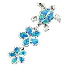 blue opal turtle and plumeria pendant..<3 this item!