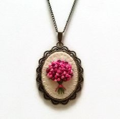 Pink Embroidered Bouquet Pendant Necklace / Floral Flower Embroidery Jewelry / wool felt bronze brass antique style necklace / Mothers day gift  This