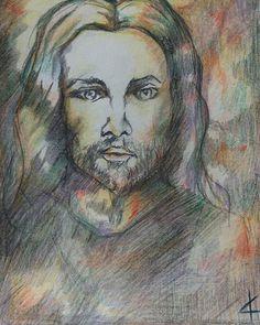 #adamamos #propheticartist #artistoninstagram #jesus #Yeshua #colorpencil Colored Pencils, Portrait, Artist, Painting, Instagram, Colouring Pencils, Headshot Photography, Crayons, Men Portrait