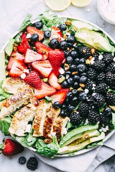 Triple Berry Chicken Avocado Salad with a Creamy Lemon Poppyseed Dressing is my all time favorite salad! Tender and juicy ...