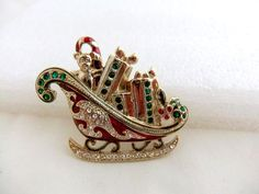 Vintage Monet Christmas Sleigh Brooch by ediesbest on Etsy, $14.99