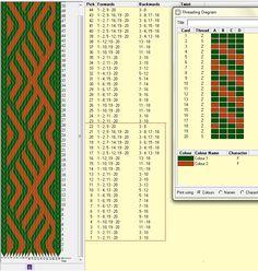 Diagonal. 20 tarjetas, 2 colores, el dibujo repite cada 22 movimientos