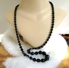 """This is a fabulous Black Crystal Beads Necklace #Vintage Single Strand Graduated!  This piece measures 33 1/2"""" from end to end and closes with a barrel clasp.  The crystals ... #vintage #jewelry #fashion #necklaces"""
