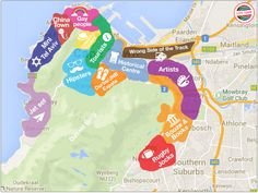 Cape Town's hoods | 15 Maps of Cape Town that will help you make sense of the Mother City  Book flights to Cape Town>> http://www.travelstart.co.za/lp/cape-town/flights