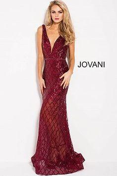 Burgundy Embellished Fitted V Neck Prom Dress 59186