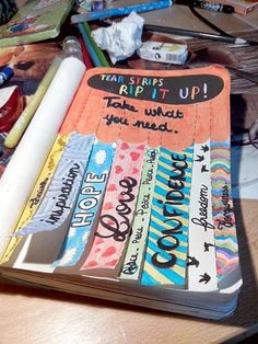Wreck This Journal: tear strips, rip it up. Wreck This Journal, Bullet Journal Ideas Pages, Bullet Journal Inspiration, Art Journal Pages, Art Journals, Journal Ideas Smash Book, Art Journal Challenge, Kunstjournal Inspiration, Smash Book Inspiration