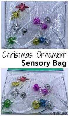 You only need 3 items to make this simple Christmas ornaments sensory bag. A perfect sensory activity for the holiday season. Sensory Bags, Baby Sensory, Sensory Activities, Infant Activities, Sensory Play, Sensory Bottles, Autism Sensory, Christmas Activities For Toddlers, Christmas Crafts For Kids