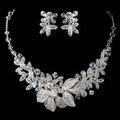 Elegance by Carbonneau Silver Rhodium Clear Swarovski Crystal Bead & Rhinestone Floral Jewelry Set 6821 Wedding Jewelry Sets, Wedding Accessories, Bridal Jewelry, Gemstone Jewelry, Jewelry Accessories, Jewelry Necklaces, Gold Jewellery, Bridal Necklace Set, Diamond Necklace Set