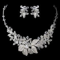 Elegance by Carbonneau Silver Rhodium Clear Swarovski Crystal Bead & Rhinestone Floral Jewelry Set 6821 Wedding Jewelry Sets, Wedding Accessories, Bridal Jewelry, Gemstone Jewelry, Jewelry Accessories, Gold Jewellery, Bridal Necklace Set, Diamond Necklace Set, Floral Necklace