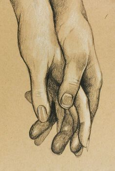 "Cute Original Charcoal Drawing of Hands Holding for Anniversary, Wedding, Birthday, or Valentine's Day. 5.75x8.5"": #ART#"