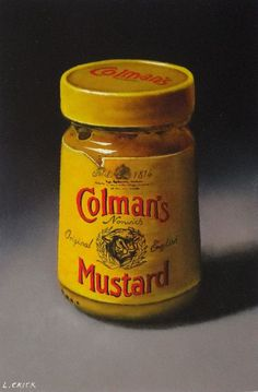 coleman's mustard (sold) Oil on board by Lucy Crick