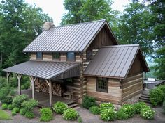 """Our """"Bath County Cabin"""" project - a country, log home retreat ready for relaxing, summer days and a back porch for grilling out in the evenings.  Work by: Country Mountain Homes www.countrymountainhomes.com"""