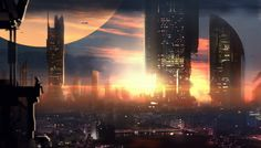 Concept art by Stanislav Rybin.  #sciencefiction #scifi #cityscape