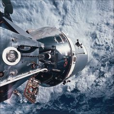 Docked Apollo 9 command service module beyond and the lunar module.