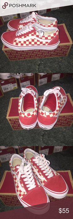 f9d956396b Vans old skool checkered red color way Size 9 10 10 condo worn once Retail