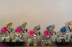 5 Mini Donkeys Piñatas  8x10x2  Custom order in Metallic Gold for a fiesta party as a centerpiece or party favor.