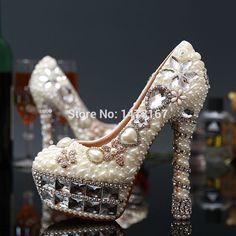 118.00$  Watch now - http://alismu.worldwells.pw/go.php?t=32791623521 - Sexy 14cm/12cm platform high heels Fashion woman's wedding shoes  maxi size EU34-40 rhinestone party shoes pumps 118.00$
