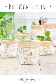Milk carton upcycling – DIY for small plant pots on mrsgreenhouse.de - Diy and Crafts to Upcycled Crafts Pot Mason Diy, Mason Jar Crafts, Mason Jars, Upcycled Crafts, Diy Crafts, Simple Crafts, Creative Crafts, Yarn Crafts, Felt Crafts