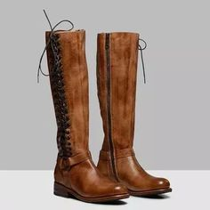 US$ 69.99 - Retro Lace-up Boots Casual Comfortable Knee Boots - m.lokeeda.com Tall Boots, Lace Up Boots, Knee Boots, Wedding Boots, Bench With Shoe Storage, Boot Brands, Casual Boots, Low Heels, Fashion Shoes