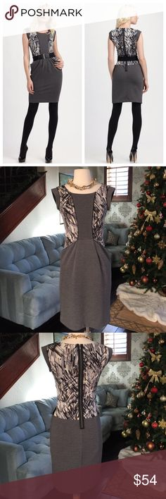 👗🌺🐻BCBGMAXAZRIA gorgeous dress ♥️ Gorgeous style gray print sheath dress by BCBGMAXAZRIA so comfy and cute on love the front pocket and back zipper detail ♥️in excellent condition 🐻 BCBGMaxAzria Dresses