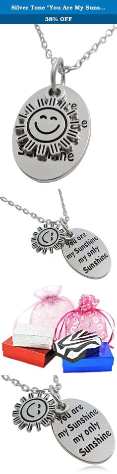 """Silver Tone """"You Are My Sunshine My Only Sunshine"""" Oval Charm Necklace - BOTH SIDES INSCRIBED. Jewelry by Glamour Girl Gifts products will arrive to you in either a gift box, organza jewelry bag, satin jewelry bag or velvet jewelry bag."""
