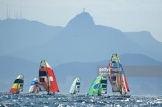 Overview of teams from Belgium, Chile, Switzerland, Argentina, Brazil and USA in action during the Men's 49er Skiff race in Marina da Gloria. Bob Martin SI72 TK1 )