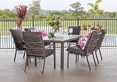7pce Milton Table & Bahama Cushion Chair Aluminium Setting