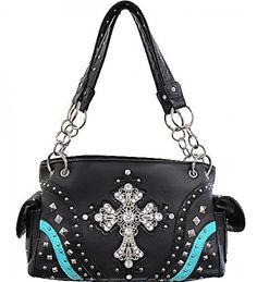 Black and Turquoise Rhinestone Accented Conceal and Carry Purse with Rhinestones - Handbags, Bling & More!