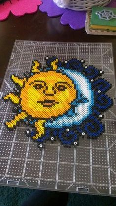 Sun and moon perler beads