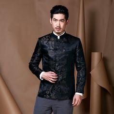 China Tang suit Chinese style wedding coat male costume festive coat new Hanfu black handsome coat Stand collar style dress Chinese Suit, Chinese Gown, Chinese Style, Chinese Collar, Wedding Coat, Wedding Suits, Japanese Fashion, Asian Fashion, Chinese Fashion