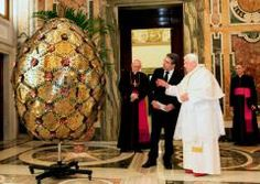 "Present for the Pope - a giant gold-plated ""Egg with Alphabet"" decorated by Preciosa crystals."