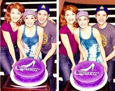 Vicky, Laura & Santino celebrating Cinderella's 100th performance at the Broadway Theatre (May 29)
