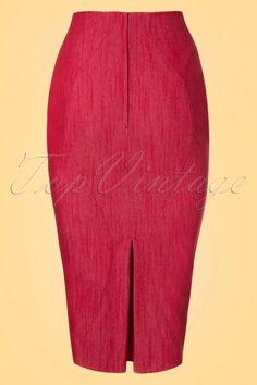 Miss Candyfloss 50s Nicky Lee Denim Pencil Skirt in Red online kopen