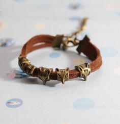 Fox bracelet-   Bronze Five Mini Fox with brown Flocking leather bracelet, bridesmaid bracelet, friendship christmas gift on Etsy, $1.88