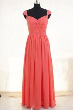 Coral Pink Chiffon Custom Made Cap Sleeve Long Bridesmaid Dress