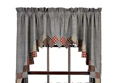New Primitive Country Grey Black Red Wine Patchwork Quilt  Curtain Window Swags #VHC #Country