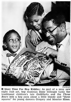 Dizzy Gillespie reads to a young Gregory Hines and his brother.