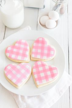 Gingham Heart Sugar Decorated Valentines Cookies. Best Sugar Cookie recipe.