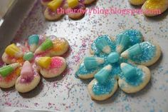 Easter Cookies-buy the candy corns during the easter season and deep freeze them for use at a baby shower later in the year!