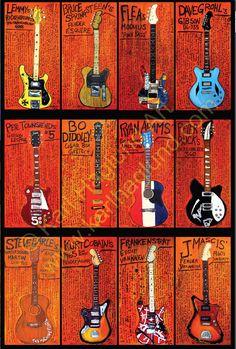 Guitar Art poster 24x36 featuring 12 guitars  by KarlHaglundArt, $65.00