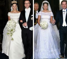 royalroaster:  Royal Gowns and Bouquets-Crown Princess Victoria, 2010; Princess Madeleine, 2013