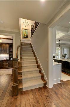 28 New Ideas for farmhouse staircase runner wood stairs White Staircase, Staircase Runner, Staircase Design, Staircase Ideas, Stair Runners, Oak Stairs, House Stairs, Carpet Stairs, Stairway Walls