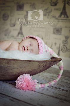 Paris backdrop, long tail crochet hat, newborn photography, newborn pose, newborn girl, baby, elf hat, bread bowl, ASP, Allison Simmons Photography