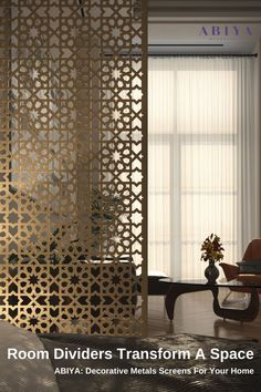 Home Decor Idea from ABIYA: Room Divider using Bespoke Decorative Metal Screens. ==>> Order your custom Divider Online Today! All screens are designed & Manufactured in Dubai, UAE. Featured: Midnight Magic in Pearl Gold #abiya #mashrabiya #pattern # design #roomdivider #roompartition #decorativescreen #arabic #homedecor Decorative Screen Panels, Decorative Room Dividers, Metal Room Divider, Room Partition Designs, Privacy Screen Outdoor, Cool Rooms, Geometric Shapes, Contemporary Design, Wall Decor