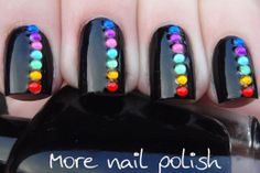 Black and rainbow rhinestone nails (with red for the wedding?)